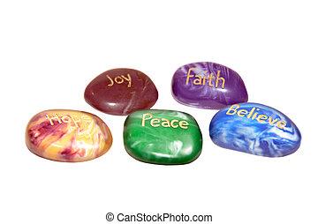 cinco, inscrito, afirmación, piedras