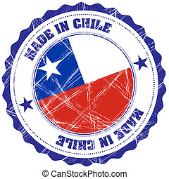 Chile - Made in Chile grunge rubber stamp with flag
