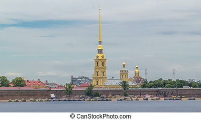 Peter and Paul Fortress across the Neva river timelapse...