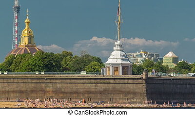 Beach near Peter and Paul Fortress across the Neva river timelapse, St. Petersburg, Russia