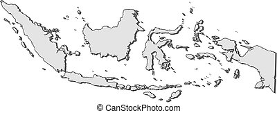 Map - Indonesia - Map of Indonesia, filled in gray