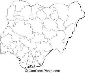 Map - Nigeria - Map of Nigeria, contous as a black line