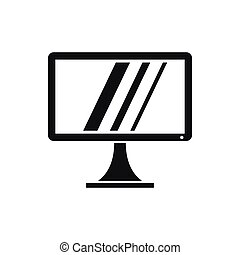 Computer monitor icon, simple style - Computer monitor icon...