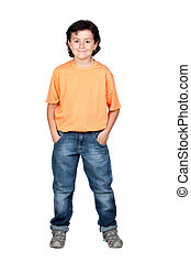 Funny child with orange t-shirt