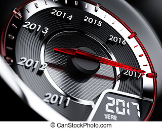 2017 year car speedometer. Countdown concept - 3d...