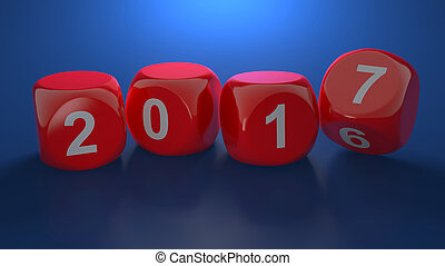 Dice with new year 2017 on blue background - 3d render of...