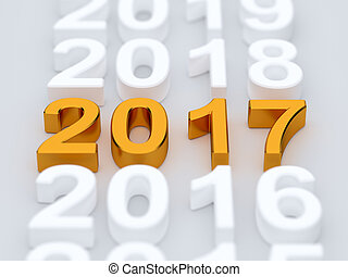 Golden 2017 year sign. Soft focus - 3d illustration of...