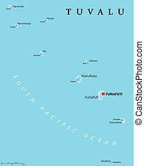 Tuvalu Political Map - Tuvalu political map with capital...