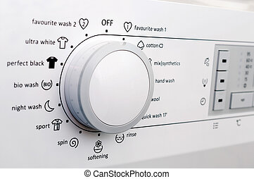 Washing machine dial and buttons