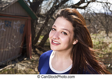 Girl by Old Barn - A Girl by Old Barn in forest place