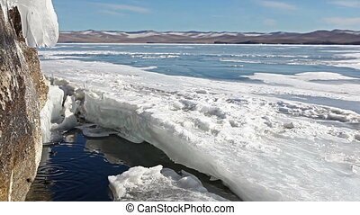Melting ice on lake in spring. - Melting ice on lake Baikal....