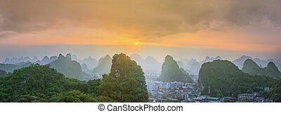 Landscape of Guilin, Li River and Karst mountains Located...