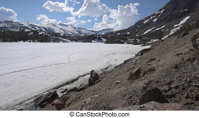 Ellery Lake near Tioga Pass California USA slow dolly up -...