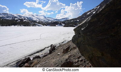 Ellery Lake near Tioga Pass California USA Dolly Shot -...