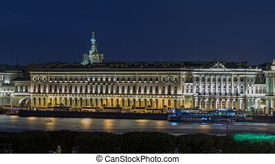 The Palace embankment and the Winter Palace timelapse June...