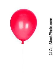 Red Balloon inflated isolated on white background
