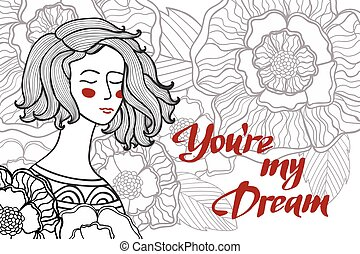 vector illustration of a girl with flowers and leaves and text