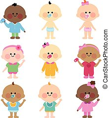 Multi ethnic group of babies - Vector Illustration of a...