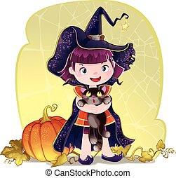 little cute witch, cat and pumpkin