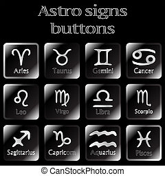 dark astro sign buttons, abstract art illustration