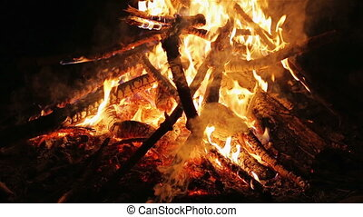 Charming bonfire flame blazing in the night, vertical...