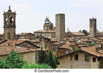 bergamo alta - view of bergamo alta italian town