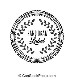 Decorated seal stamp icon. Hand draw label design. Vector...