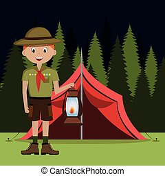 scout character with lamp isolated icon design