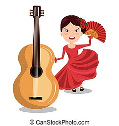 flamenco dancer with guitar isolated icon design, vector...
