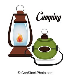 camping, isolé, lampe, conception, cantine, icône