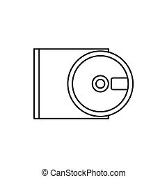 DVD drive open icon, outline style - DVD drive open icon in...
