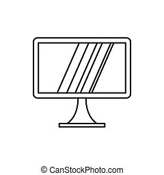 Computer monitor icon, outline style - Computer monitor icon...