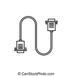 Cable wire computer icon, outline style