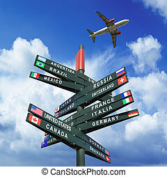 Road sign with flags from countries, plane in the sky