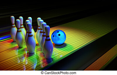 Bowing ball and skittles on the alley. - Glossy bowling ball...