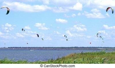 Kitesurfing. Kitesurfing Water Race. Active lifestyle -...