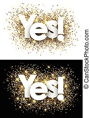Yes paper banners - Yes paper banners set with shining sand...