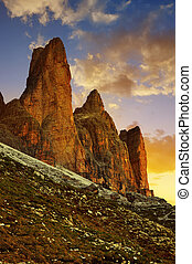 Tre Cime di Lavaredo,Italy - Mountain landscape at sunset....