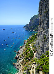Capri island - Italy, Europe - Coastal rocks of Capri island...