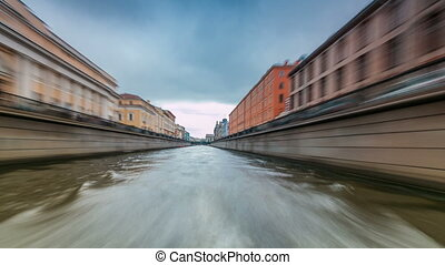 River trips on canals of St. Petersburg Russia timelapse...