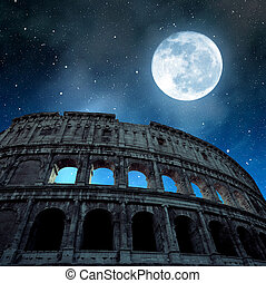 Flavian Amphitheatre or Colosseum in Rome with night sky and...