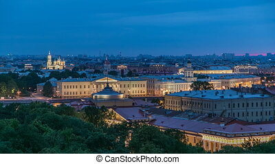 Building of Kunstkamera and the cityscape night to day timelapse viewed from the colonnade of St. Isaac's cathedral.