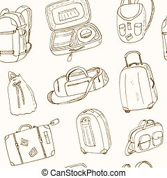 seamless pattern different travel bags and suitcases
