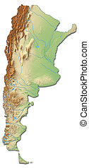 Relief map of Argentina - 3D-Rendering