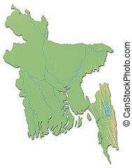 Relief map of Bangladesh - 3D-Rendering