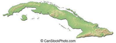 Relief map of Cuba - 3D-Rendering