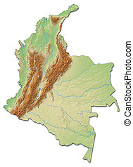 Relief map of Colombia - 3D-Rendering