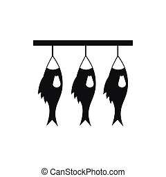 Three dried fish hanging on a rope icon in simple style...