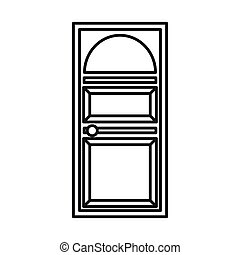 Door with an arched glass icon
