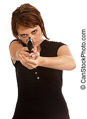 Young Caucasian female protecting herself